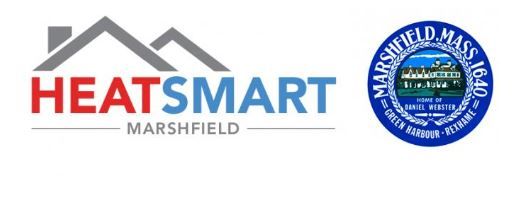 HeatSmart Marshfield text and logo with 2 rooftops and the blue circular Town of Marshfield seal