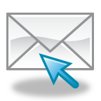 Graphic of a white envelope with a blue arrow